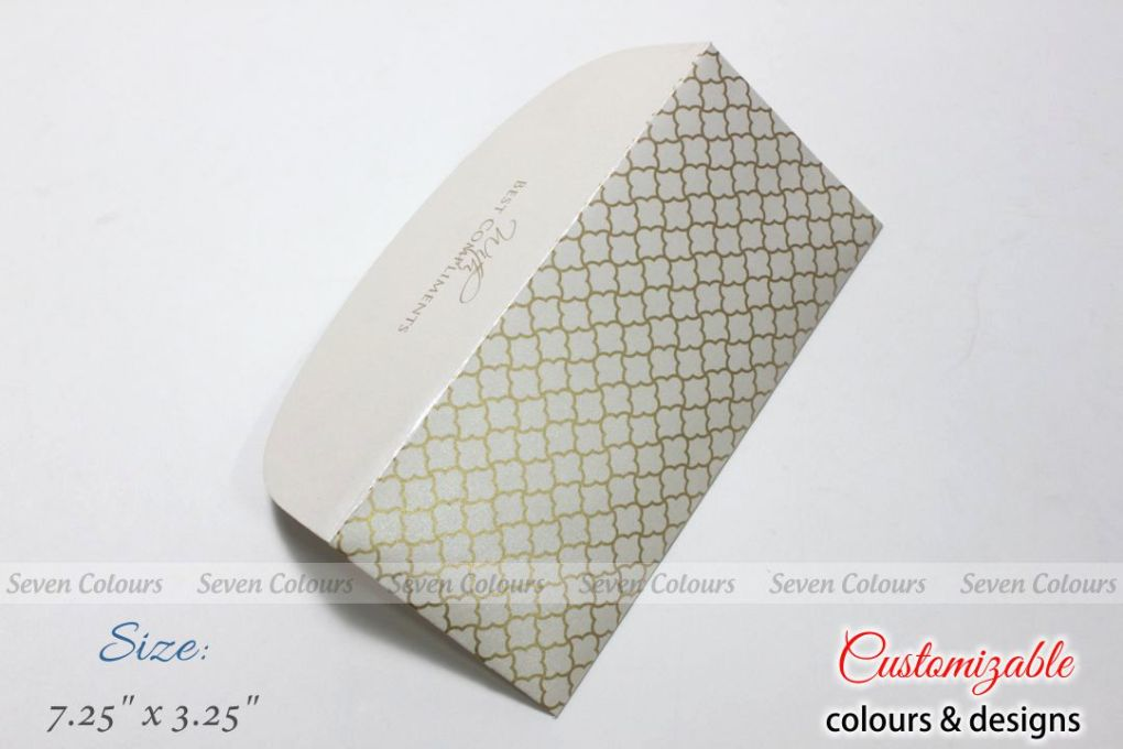 White jaali design money envelopes for wedding gift