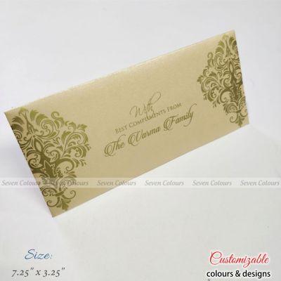 Cream and golden motif print money envelopes for wedding gift