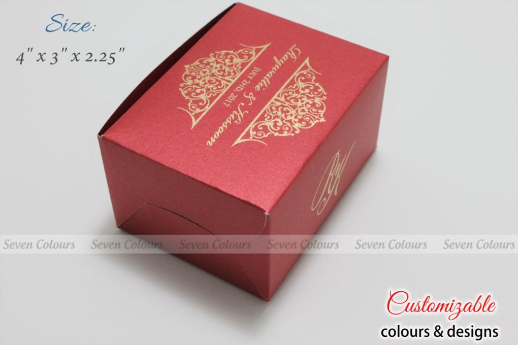 Red small size cake box for tamil wedding
