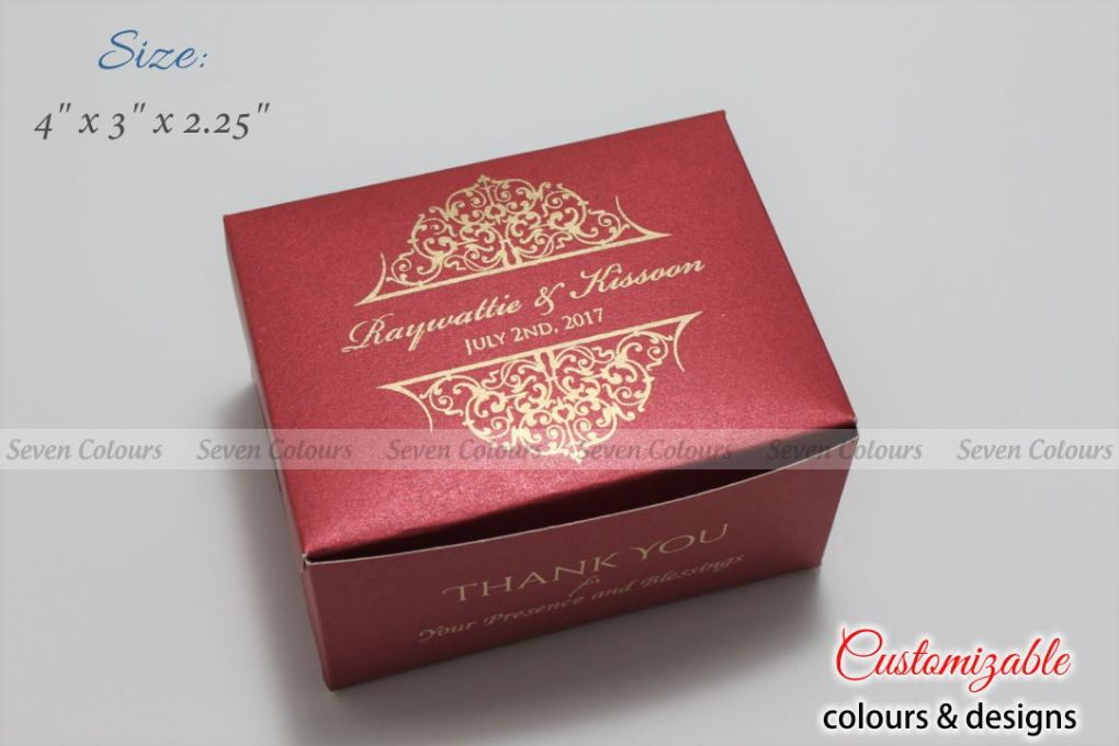 Red gold design small size cake box for tamil wedding