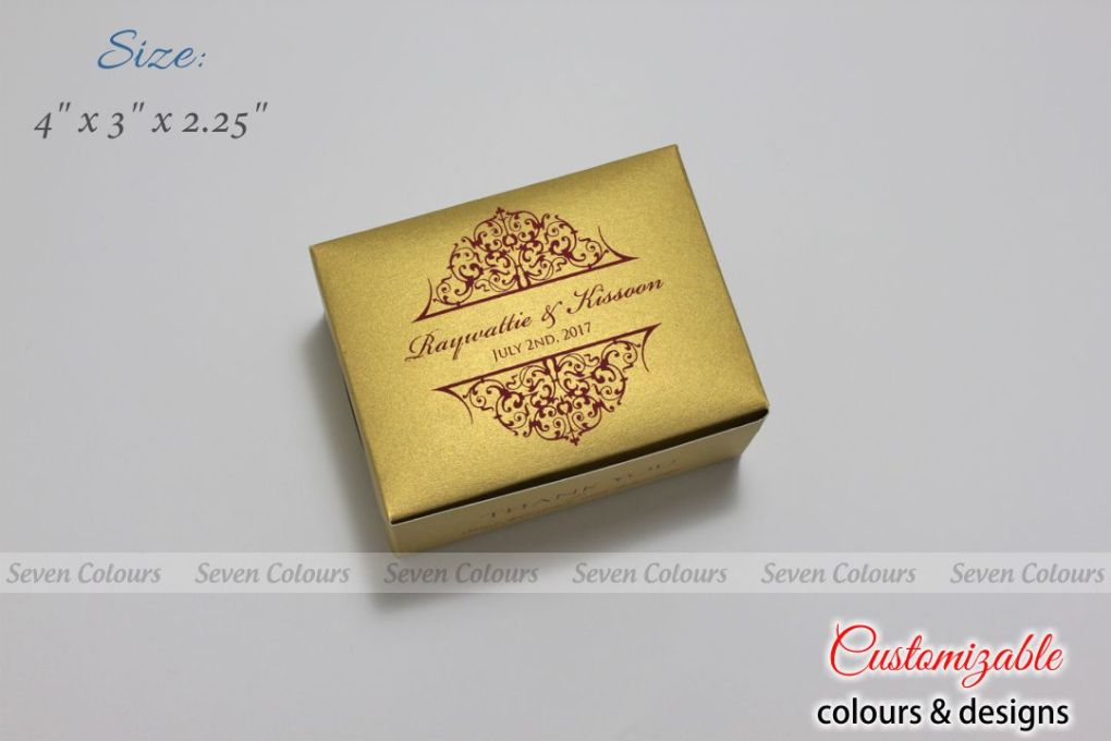 Gold red design small size cake box for tamil wedding