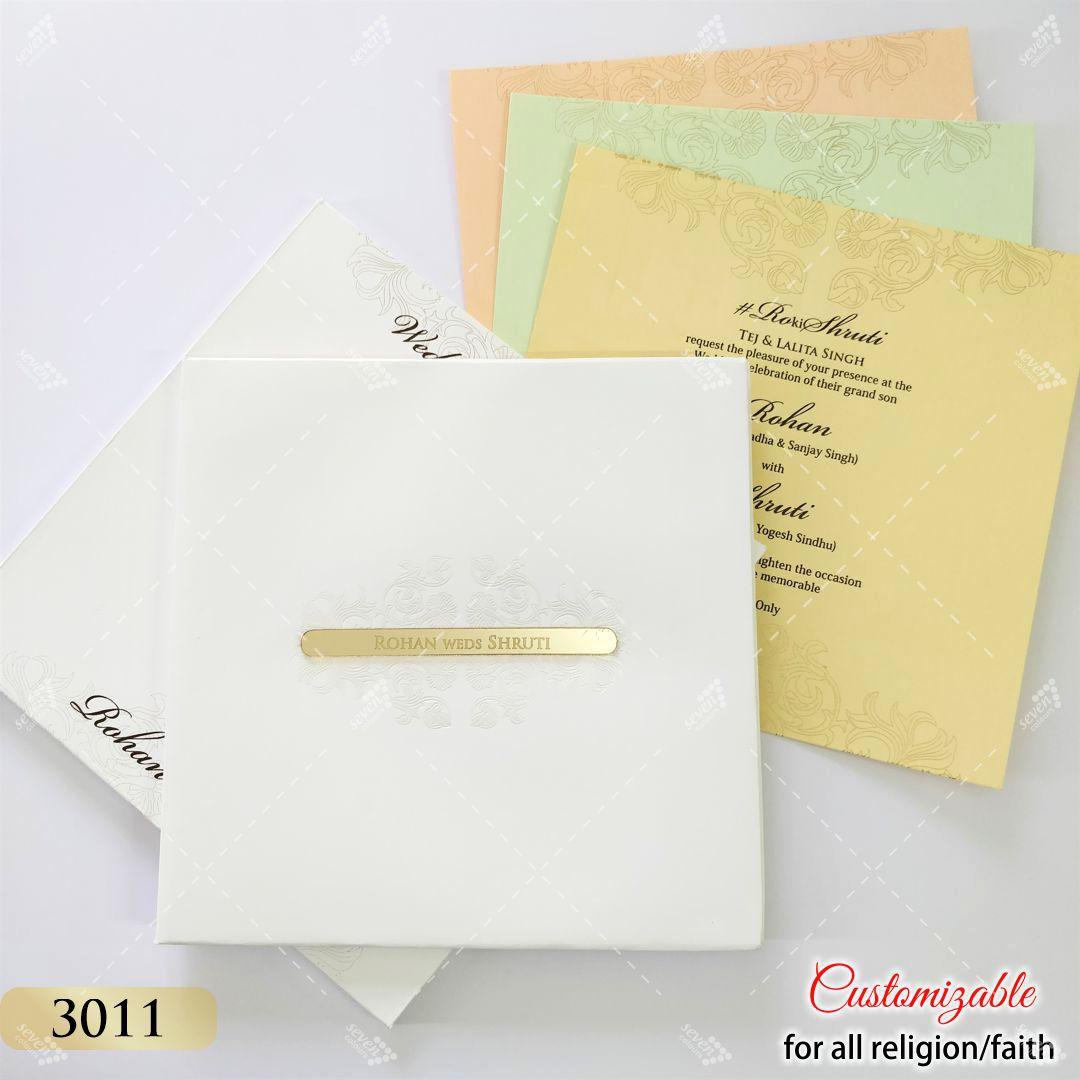 White hardcover invitation in pastel colour inserts