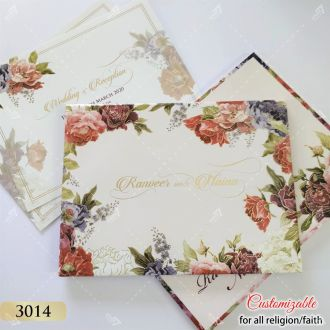 Floral theme indian wedding iinvitation in hardcover landscape style