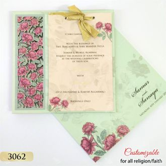 sea green floral laser cut card on mdf