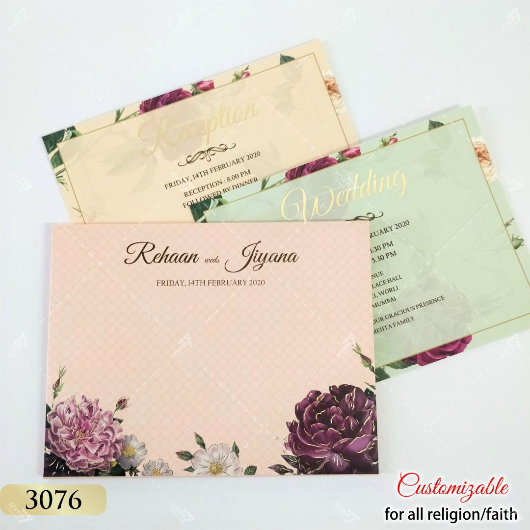 peach floral wedding invitation hardcover style