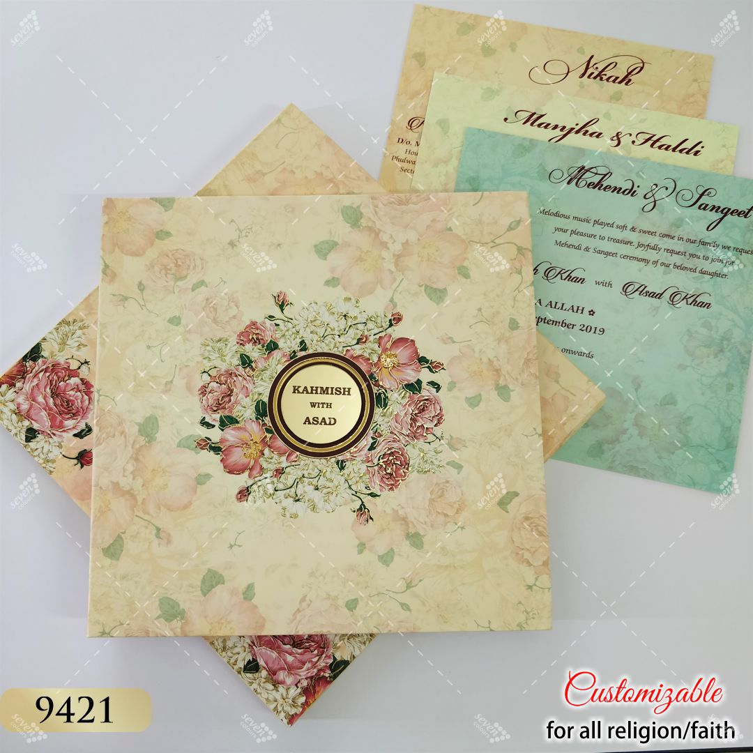 floral theme heavy hardcover boxed wedding invitation