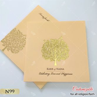 peach love tree gold foil wedding card