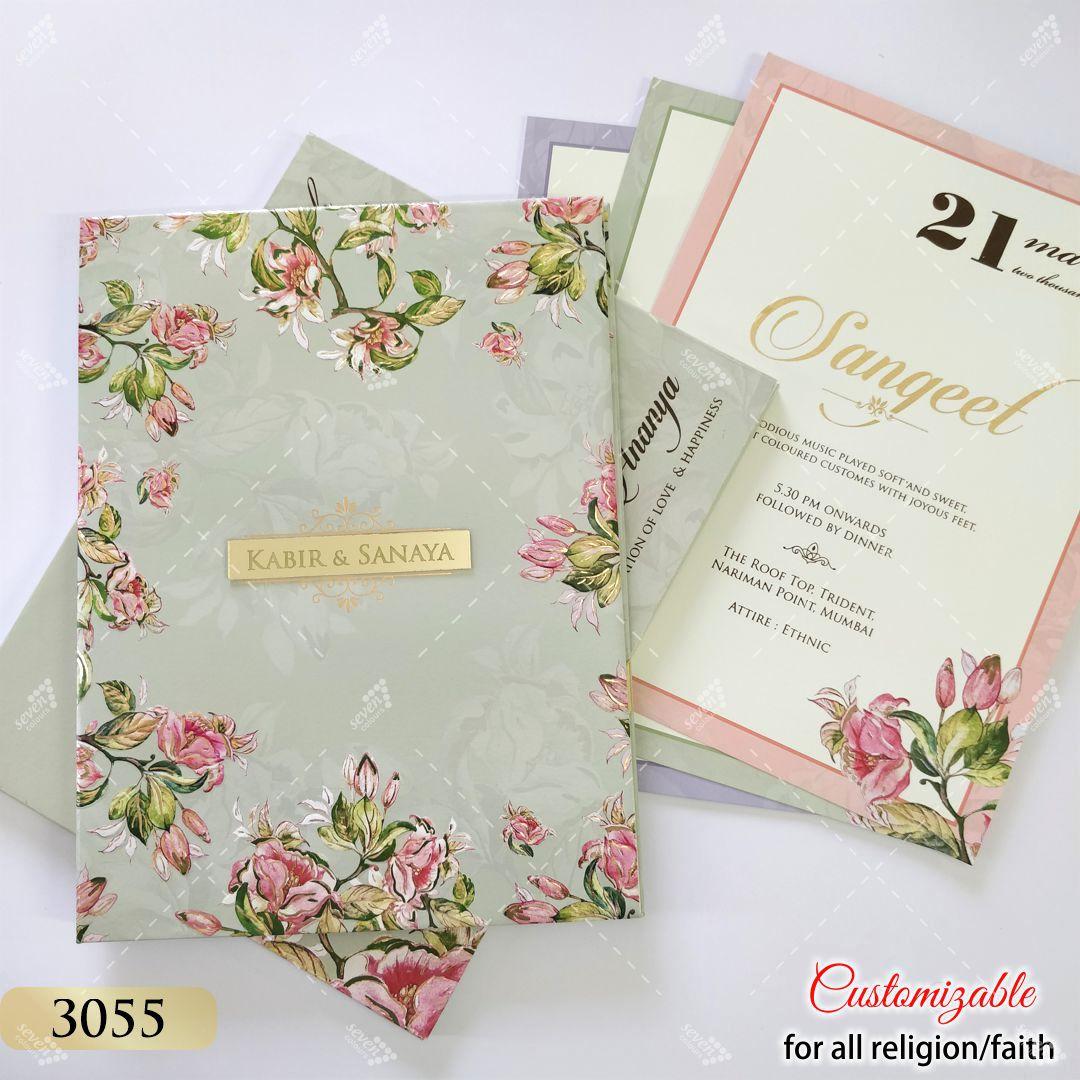 premium quality big size wedding invitation in floral theme colours grey