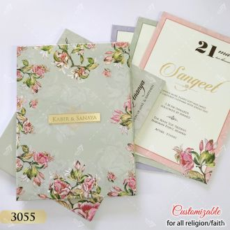 premium quality big size wedding invitation in floral theme colours grey