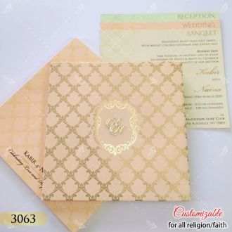 Peach Pink Royal Indian Wedding Invitations
