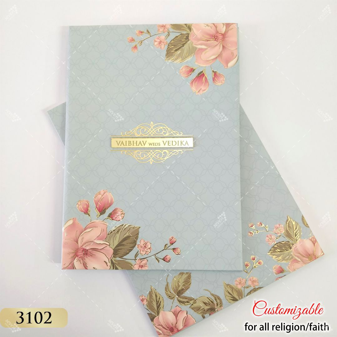 pastel blue grey pink floral invitation in hardcover