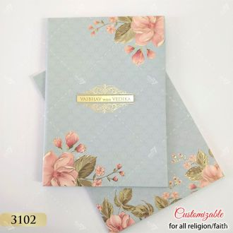 pastel blue grey pink floral invitation in hardcover