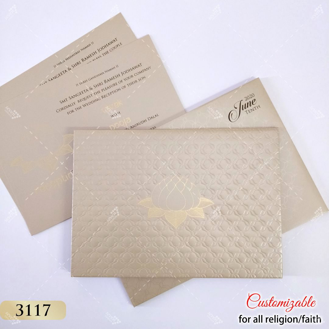 pastel grey gold shinny hardcover wedding card in lotus theme