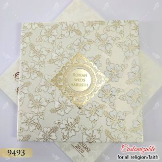 golden floral hardcover padded cards