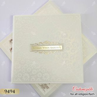 white ivory embossed hardcover card