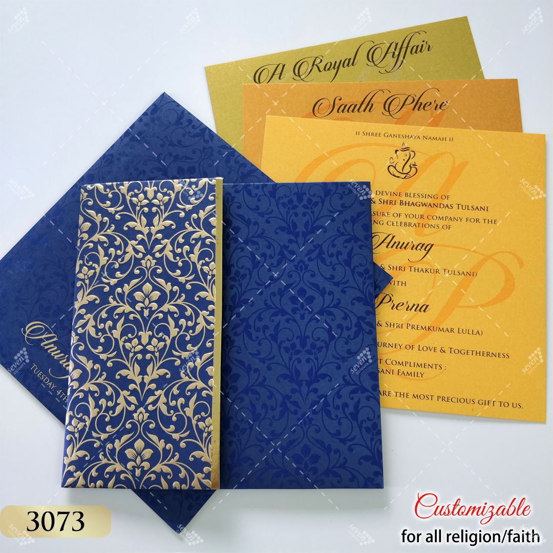 blue invitation with golden floral design embossed