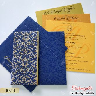 blue invitation with golden floral design embossed