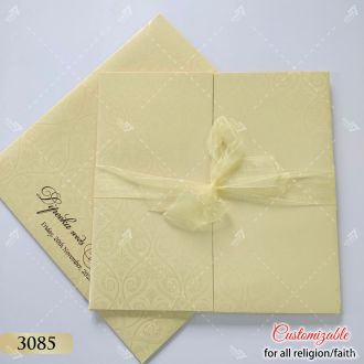 Cream ribbon wedding card in pastel colours