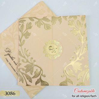 peach square door style pastel colour wedding invitation