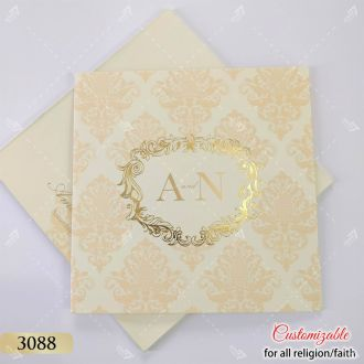 premium cream pastel finish damask pattern indian wedding card with gold foil design and couple logo