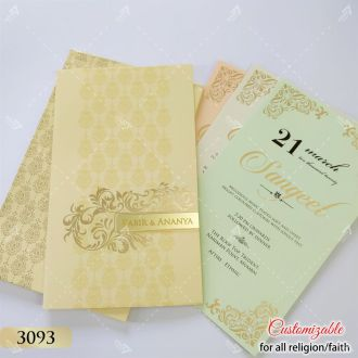 cream book style wedding card in pastel colour inserts pages with gold acrylic logo