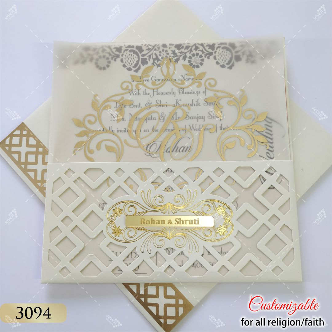 Jaali Cut work design in white & red invitation