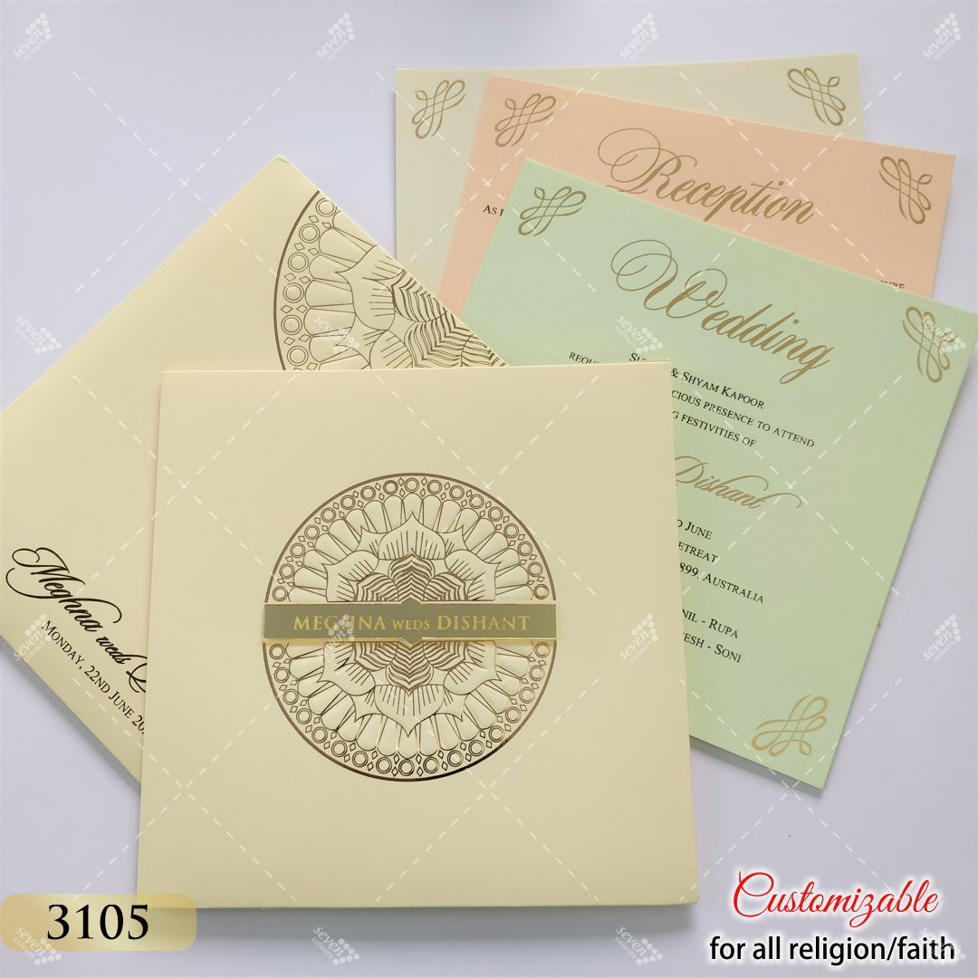cream pastel colour invite in mandala design with gold acrylic logo
