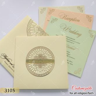 cream pastel colour invite in mandala design with gold acrylic logo