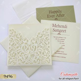 low cost laser cut wedding card - white colour