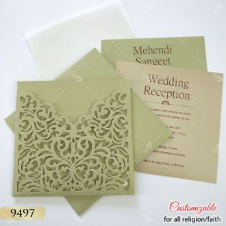 low cost laser cut wedding card - green pista colour