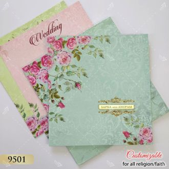 turquoise and rose theme wedding invitation - best seller of 2020