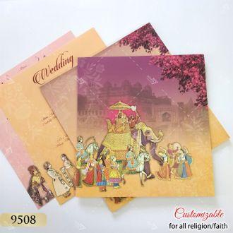 floral orange and purple theme elephant and bride & groom wedding invitaion
