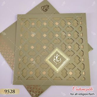 green jaali cut design wedding card
