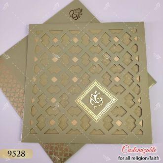 green jaali cut design wedding card