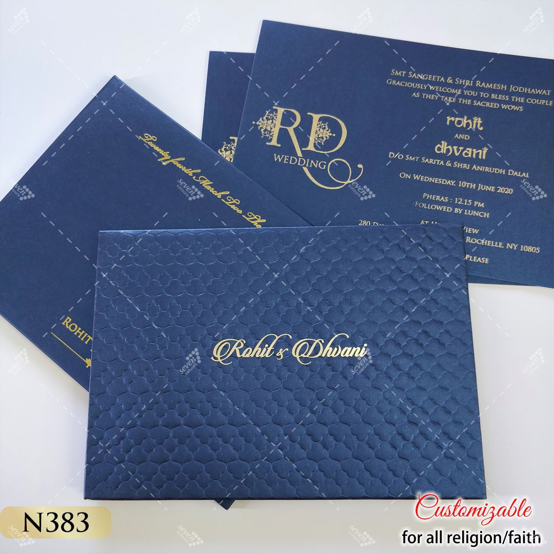 sikh blue hardcover design with real gold names of bride and groom