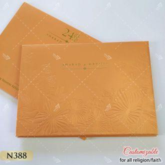 Orange colour south asian tamil wedding cards