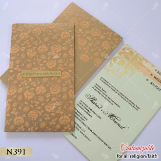 Peach floral embossed on gold colour card