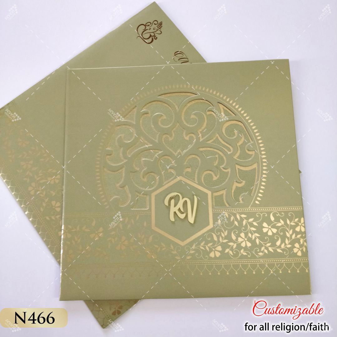 green gold tamil wedding card with acrylic logo