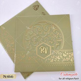 green gold tamil wedding card with acrylic logo