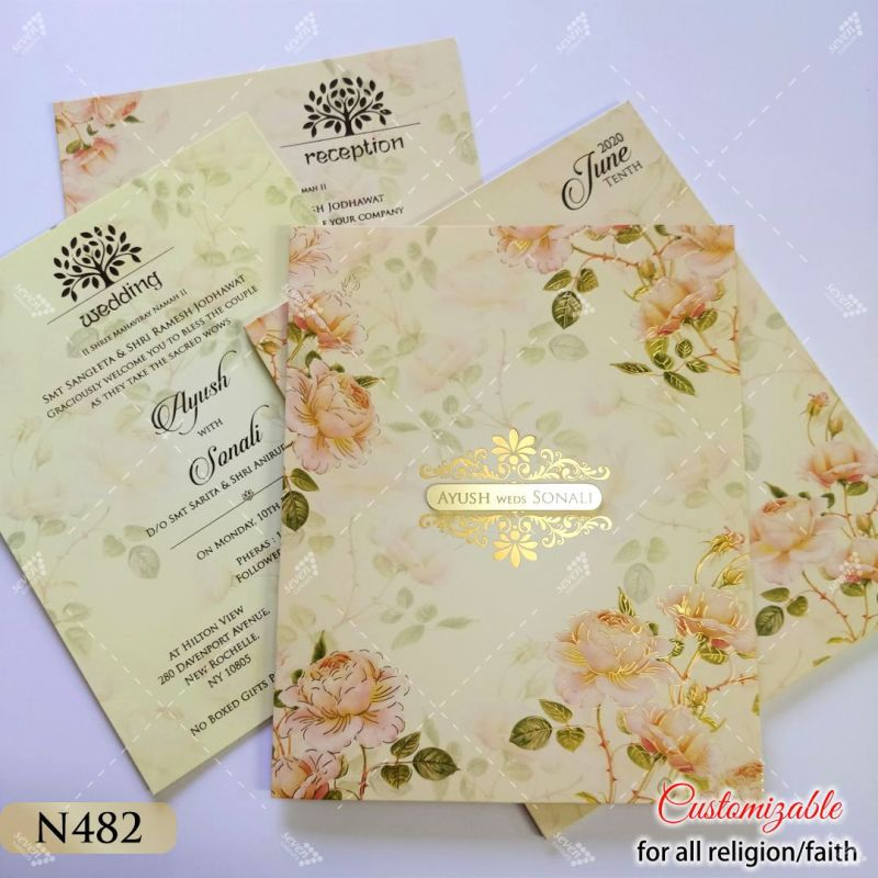 good size floral peach theme wedding invitation