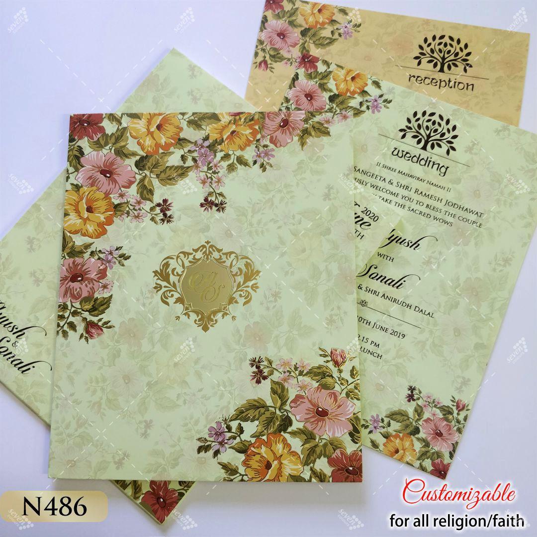 sea green lime floral theme wedding card