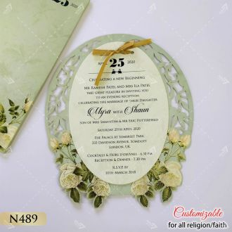 oval shape floral theme invitation in pastel colour