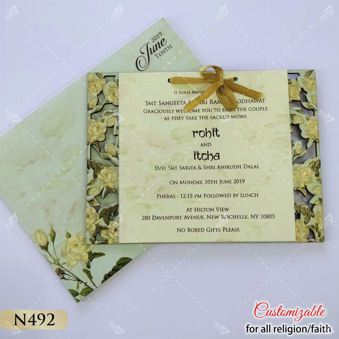 light green floral theme lasrecut card rectangular with ribbon