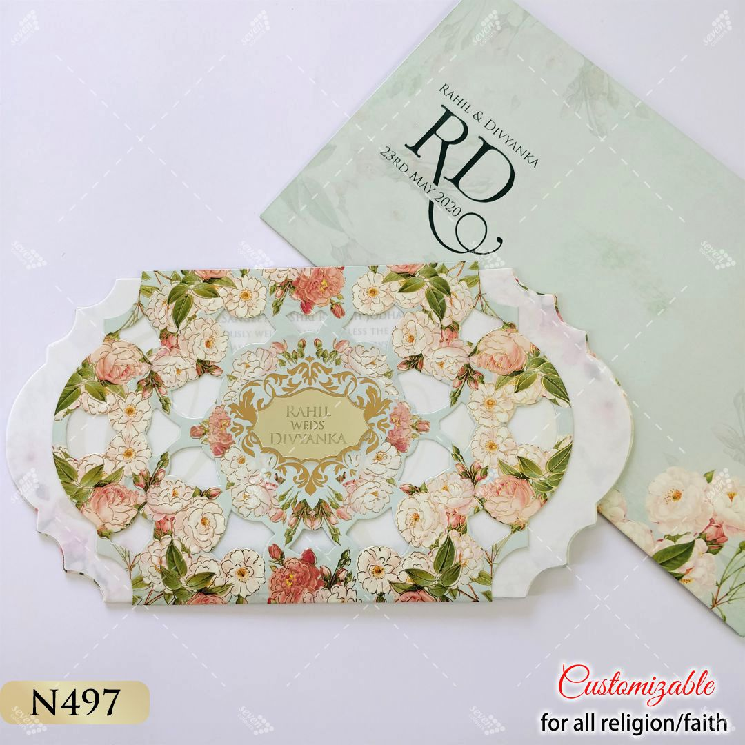 floral theme digital printed lasercut work pastel inserts invitation for wedding in 2020