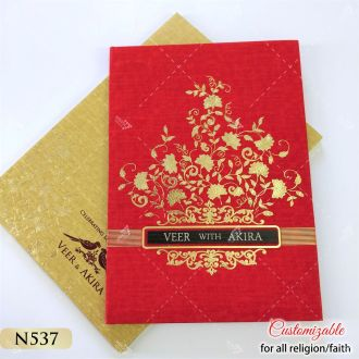 Beautiful and Popular Red Floral hot foil Indian wedding card