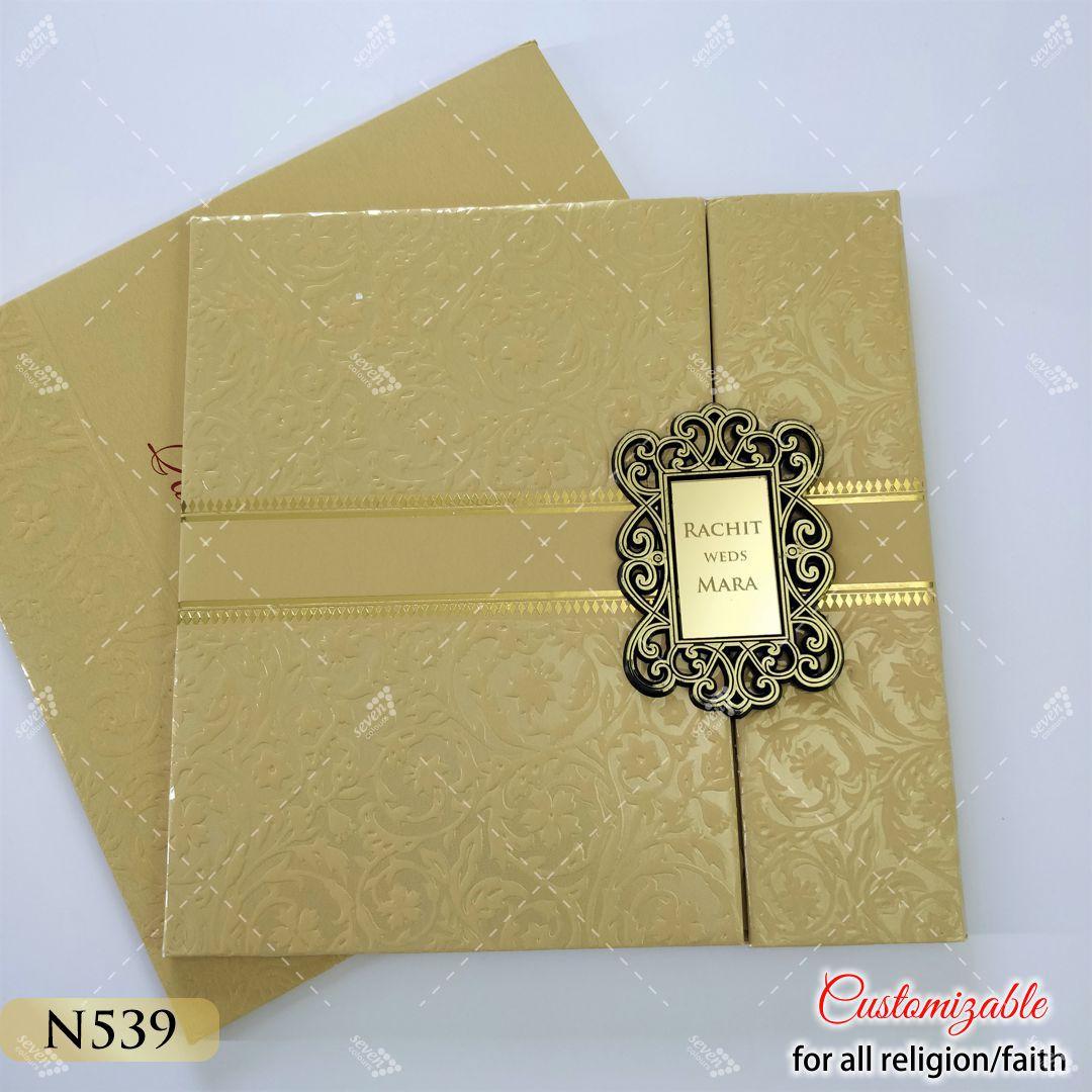 door style hardcover wedding card