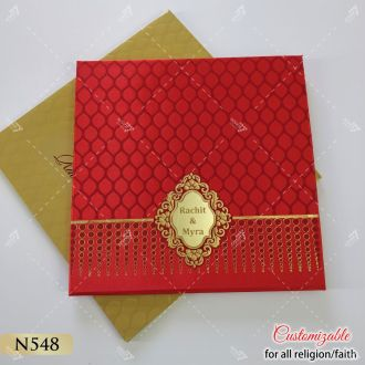 red satin cloth padded hardcover wedding card indian style