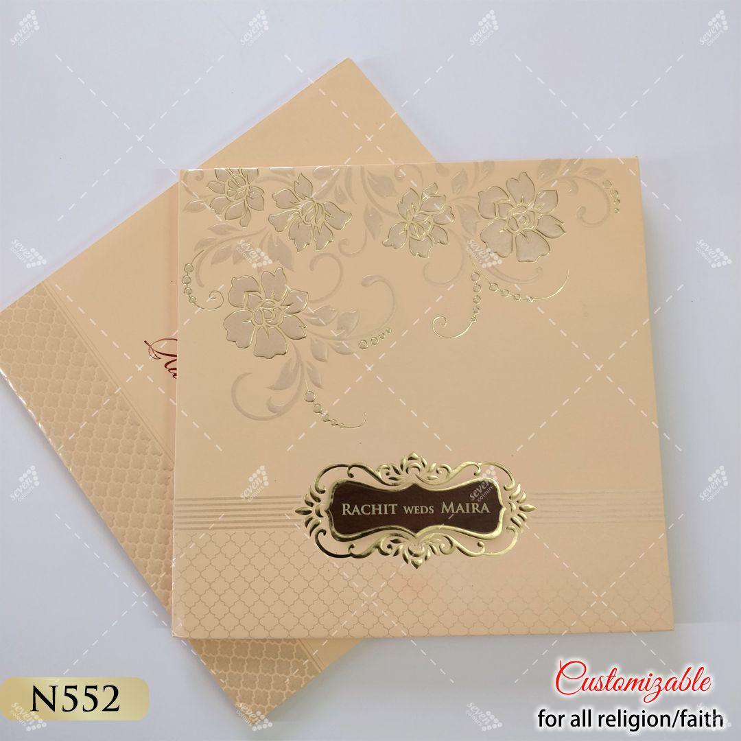 peach pastel hard cover wedding cards