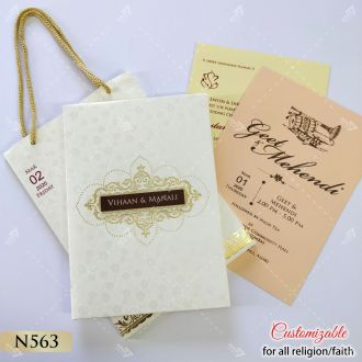 carry bag style wedding card in pastel colours