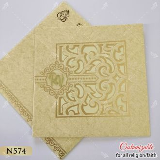 golden tamil wedding card with 2 pages side by side